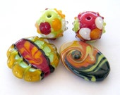 Handmade lampwork beads sale  -Orphans SALE- Happy 4 glass beads / pendants