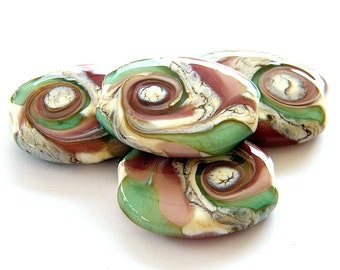 BINDU- handmade Lampwork beads set in ivory , violet and green-blue