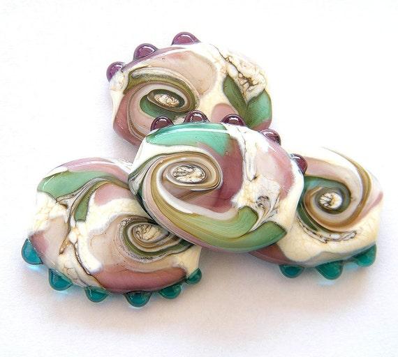 BINDU- 4 pressed Lampwork beads / pendants in ivory , violet and green-blue