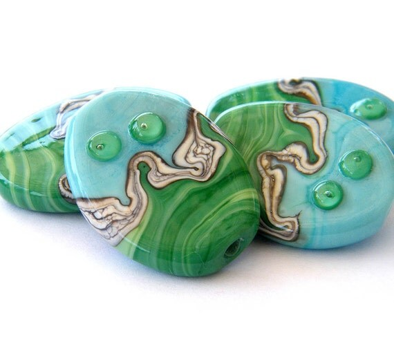 Handmade glass beads - 4 pressed Lampwork beads / pendants in turquoise, green and silvered ivory