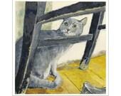 Gray Tabby Cat print of an original painting