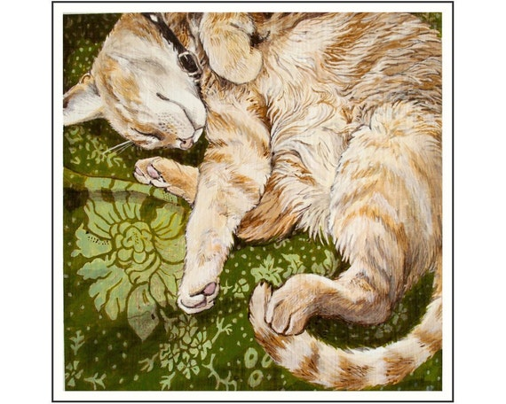 Orange Tabby Cat Curled Up For A Nap print of an original painting