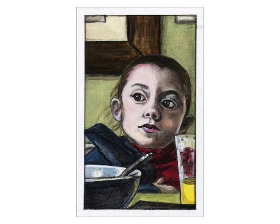 Rosie at Brunch print of an original painting
