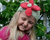 Green Knitted Toddler Girl Hat With Flower Mint Blossom