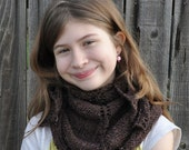 Brown Knit Shawl or Scarf for Teens or Women