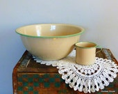 Vintage Enamelware Bowl and Cup with Green Trim