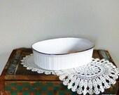 Vintage White Serving Bowl - Corningware, Gold Rim