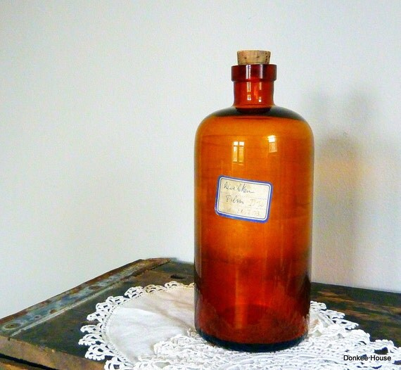 Vintage Apothecary Bottle Amber LARGE