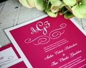 Fuchsia Wedding Invitations - Vintage Monogram