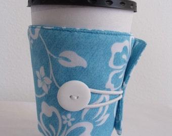 Turquoise Hawaiian Print Adjustable Coffee Sleeve