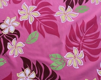 Poly Cotton Hawaiian Print in Pink  (Yardage Available)
