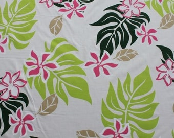 Hawaiian Print White Background with Pink Flowers