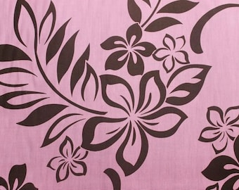 Beautiful Cotton Brown and Pink Hawaiian Print fabric  (Yardage Available)