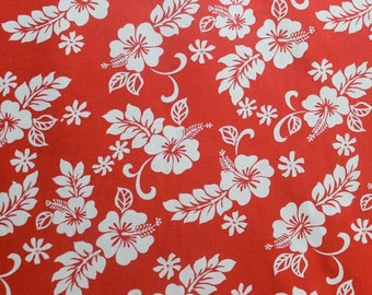 Classic Red and White Hawaiian Print  (Bulk Yardage Available)