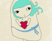 Art Print / big eyed art / Girl / A Heart for You