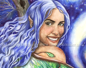 Fairy Girl Print moon luna moth fantasy art by Lindsey Cormier