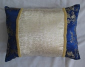 Blue, White, and Gold Brocade Throw Pillows