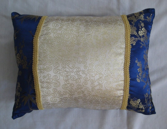 Blue white and gold brocade throw pillows by for Blue and gold pillows