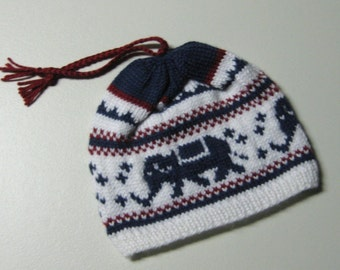 Chilly Willy the Elephanty Beanie ( Red/White/Blue ready to ship or made to order)