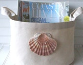 Fabric Storage Basket with Scallop Shell for your coastal or beach house