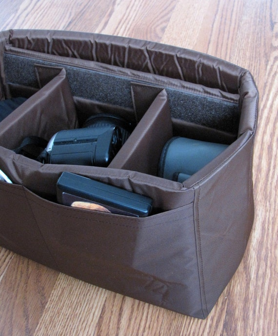 PreOrder DSLR Camera Bag Insert in Brown- Adjustable Dividers - You choose Dimensions