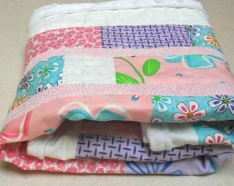 Modern Patchwork Babyh Girl Pink Flowers Amelia Baby Blanket