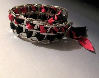 Recycled Soda Pop Can Tab Bracelet Black & Hot Pink Ribbon