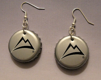 Recycled Beer Bottle Cap Earrings Coors Light Mountains