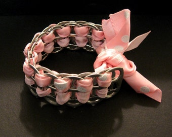 Recycled Soda Pop Can Tab Bracelet Pink & Silver Sparkle Ribbon