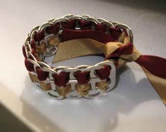 Recycled Soda Pop Can Tab Ribbon Bracelet