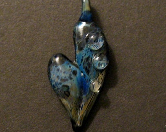 Blue Heart Pendant Boro Glass Recycled Frit Lampworked Focal Bead