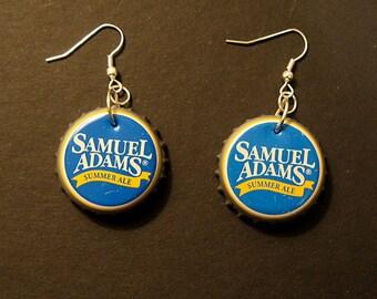 Recycled Beer Bottle Cap Earrings Samuel Adams Summer Ale