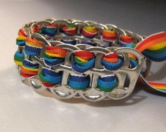 Recycled Soda Pop Can Tab Bracelet Rainbow Ribbon