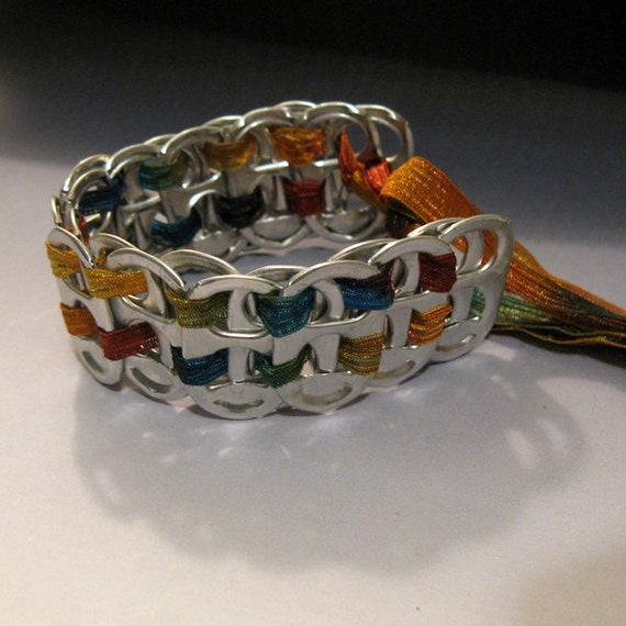 recycled soda pop can tab ribbon bracelet autumn colors