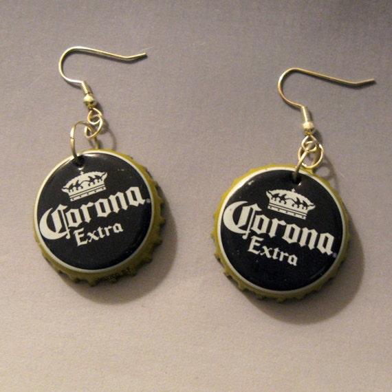 Recycled beer bottle cap earrings corona extra - Beer bottle caps recyclable ...