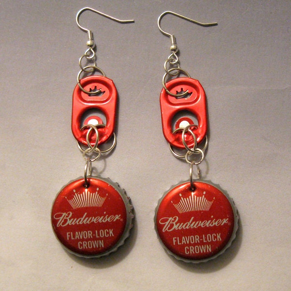 Recycled can tab bottle cap earrings budweiser beer red crown - Can you recycle bottle caps ...