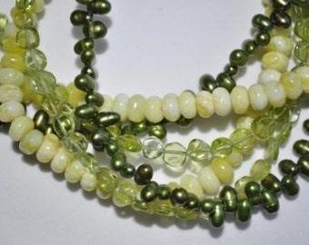 Kale Greenery Pearl Peridot Necklace - Pantone 2017