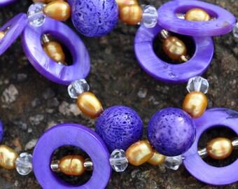 JMU Dukes Purple Donuts Gold Pearl Necklace ECU LSU