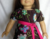 18 inch Doll Clothes American Girl Doll Dress Bitty Baby Brown Butterfly