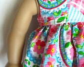 18 inch Doll Clothes American Girl or Bitty Baby- Valentines Patchwork Doll Dress