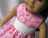 American Girl Doll Bitty Baby Doll Dress Pink Damask Doll Outfit by Stlkaty