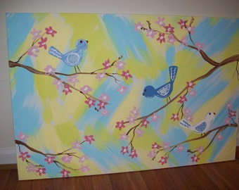 Large 24x36 Canvas Painting -  Three Little Birds - Birds on branch - Cherry Blossom
