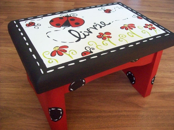Ladybug Step Stool red and black polka dot childs stool
