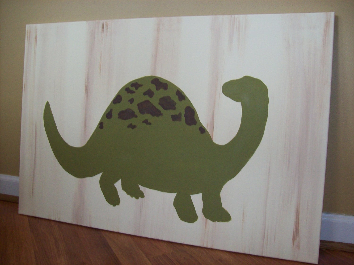 18x24 dino painting hand painted distressed wooden canvas for Dinosaur decor
