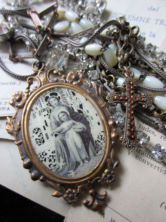 like a prayer - vintage assemblage rosary prayer card necklace with chains and rhinestones by the french circus