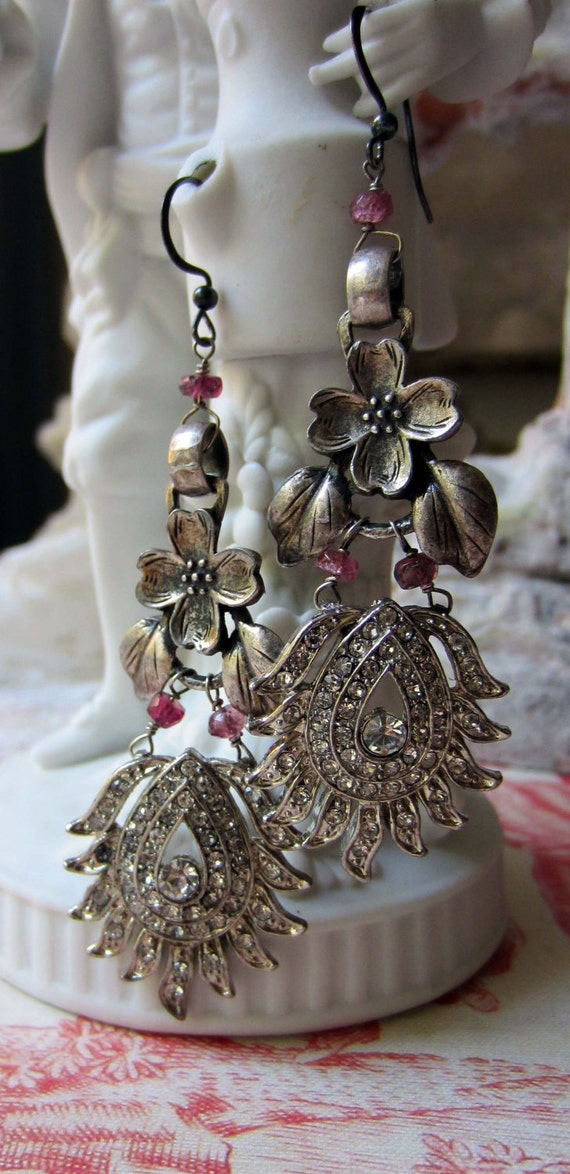 RESERVED for Teresa - silver bouquet - vintage assemblage earrings with art deco rhinestones and art nouveau flowers by the french circus