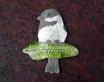 Raku Chickadee Ornament Clay Pottery Bird Ceramic Sculpture Bird on branch