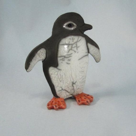 Raku Pottery Penguin clay penguin sculpture penguin art ceramic penguin art