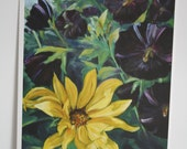 Sunflower and Hollyhocks  Print from Oilpainting