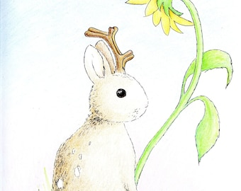 Jackalope with Sunflower 8 x 10 Print by SBMathieu